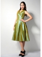 Customize Olive Green A-line V-neck Bridesmaid Dress Tea-length Ruch Taffeta