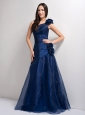 Customize Peacock Blue A-line One Shoulder Hand Made Flowers Bridesmaid Dress Floor-length Tafeta and Organza