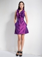 Customize Purple A-line Halter Bridesmaid Dress Mini-length Taffeta