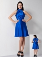 Customize Royal Blue A-line High-neck Bridesmaid Dress Knee-length Taffeta