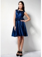 Customize Royal Blue A-line Scoop Hand Made Flower Bridesmaid Dress Knee-length Taffeta