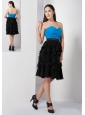 Customize Sky Blue and Black A-line Sweetheart Bridesmaid Dress Chiffon Ruch and Ruffles Knee-length