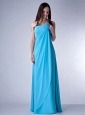 Customize Teal Empire Strapless Bridesmaid Dress Chiffon Hand Made Fowers Floor-length