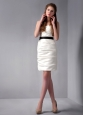 Customize White Column Strapless Ruch Bridesmaid Dress Mini-length Taffeta