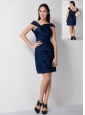 Discount Navy Blue Column Asymmetrical Ruch Bridesmaid Dress Mini-length Taffeta
