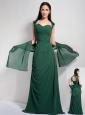 Elegant Dark Green Column Sweetheart Bridesmaid Dress Chiffon Ruch Brush Train