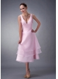 Exclusive Baby Pink A-line / Princess V-neck Bridesmaid Dress Organza Ruch Tea-length