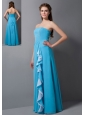 Informal Empire Strapless Bridesmaid Dress Chiffon Beading Floor-length