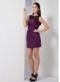 Latest Dark Purple Column Bateau Bridesmaid Dress Mini-length Taffeta