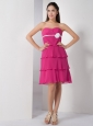 Latest Hot Pink Empire Bridesmaid Dress Sweetheart Chiffon Hand Made Flower Knee-length