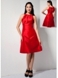 Latest Red A-line Bateau Bridesmaid Dress Knee-length Taffeta