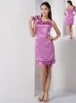 Lavender Column Square Bridesmaid Dress Satin Mini-length Hand Made Flowers