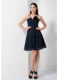 Navy Blue A-line Spaghetti Straps Bridesmaid Dress Chiffon Hand Made Flower Knee-length