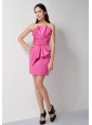 Popular Rose Pink Column Ruch Bridesmaid Dress Strapless Mini-length Taffeta