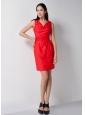 Pretty Red Column V-neck Bridesmaid Dress Mini-length Elastic Woven Satin