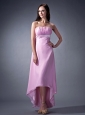 Remarkable Pink Cloumn Strapless Bridesmaid Dress Ruch High-low Chiffon