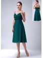 The Most Popular Dark Green Empire Straps Bridesmaid Dress Chiffon Tea-length Appliques