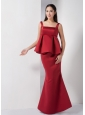 The Super Hot Wine Red Mermaid Straps Bridesmaid Dress Floor-length Satin