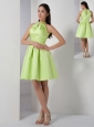 Yellow Green A-line High-neck Bridesmaid Dress Elastic Woven Satin Ruch Knee-length