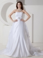 Beautiful A-line / Princess Strapless Wedding Dress Satin and Organza Embroidery Court Train