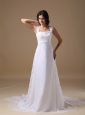 Beautiful A-line Square Beach Wedding Dress Chiffon Lace Court Train