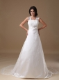 Beautiful A-line Square Wedding Dress Taffeta and Lace Beading Court Train