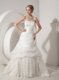 Beautiful A-line Wedding Dress Strapless Organza and Satin Appliques Chapel Train