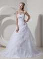 Custom Made A-line Sweetheart Wedding Dress Organza Beading Chapel Train