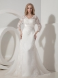 Custom Made A-line V-neck Wedding Dress Organza Lace  Chapel Train