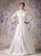 Custom Made Wedding Dress Ivory A-line High-neck Court Train Satin Lace