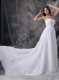Custom Made White Empire Sweetheart Beach Wedding Dress Chiffon Appliques and Ruch Court Train