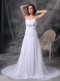 Custom Made White Princess Beach Wedding Dress Sweetheart Chiffon Appliques and Ruch Court Train