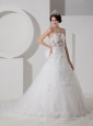 Customize A-line Strapless Tulle Beading and Appliques Wedding Dress Court Train