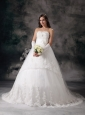 Customize A-line Strapless Wedding Dress Taffeta Lace Hand Made Flowers Court Train