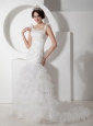 Customize Mermaid Straps Ruch and Appliques Wedding Dress Organza Court Train