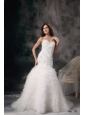 Elegant Mermaid Wedding Dress Sweetheart Court Train Feather Beading Court Train