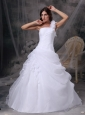 Latest White A-line One Shoulder Hand Made Flowers and Ruch Wedding Dress Organza Floor-length