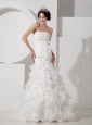 Luxurious Mermaid Wedding Dress Strapless Organza Appliques and Ruch Brush Train