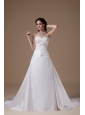 Popular A-line Wedding Dress Sweetheart Satin Embroidery Court Train