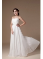 Popular Empire Strapless Beach Wedding Dress Tulle Appliques Floor-length