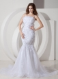 Sweet Mermaid Belt Wedding Dress Straps Tulle and Lace Court Train