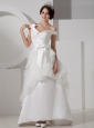 Unique A-line V-neck Satin Sash Wedding Dress Floor-length