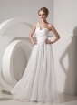 White Empire One Shoulder Beach Wedding Dress Organza Ruch Floor-length