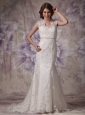 Afforable Mermaid Wide Straps Wedding Dress Lace Beading Court Train