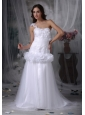 Beautiful A-line One Shoulder Low Cost Wedding Dress Taffeta and Tulle Hand Made Flowers Brush Train