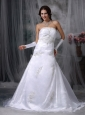 Beautiful A-line Strapless Low Cost Wedding Dress Organza Appliques Court Train
