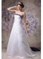 Beautiful A-line Strapless Wedding Dress Satin Embroidery Chapel Train