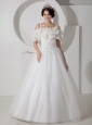 Beautiful A-line Straps Wedding Dress Tulle Appliques Floor-length