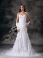 Brand New Mermaid Sweetheart Wedding Dress Organza Embroidery With Beading Chapel Train