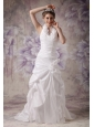 Custom Made A-line Halter Wedding Dress Taffeta Hand Made Flowers Court Train